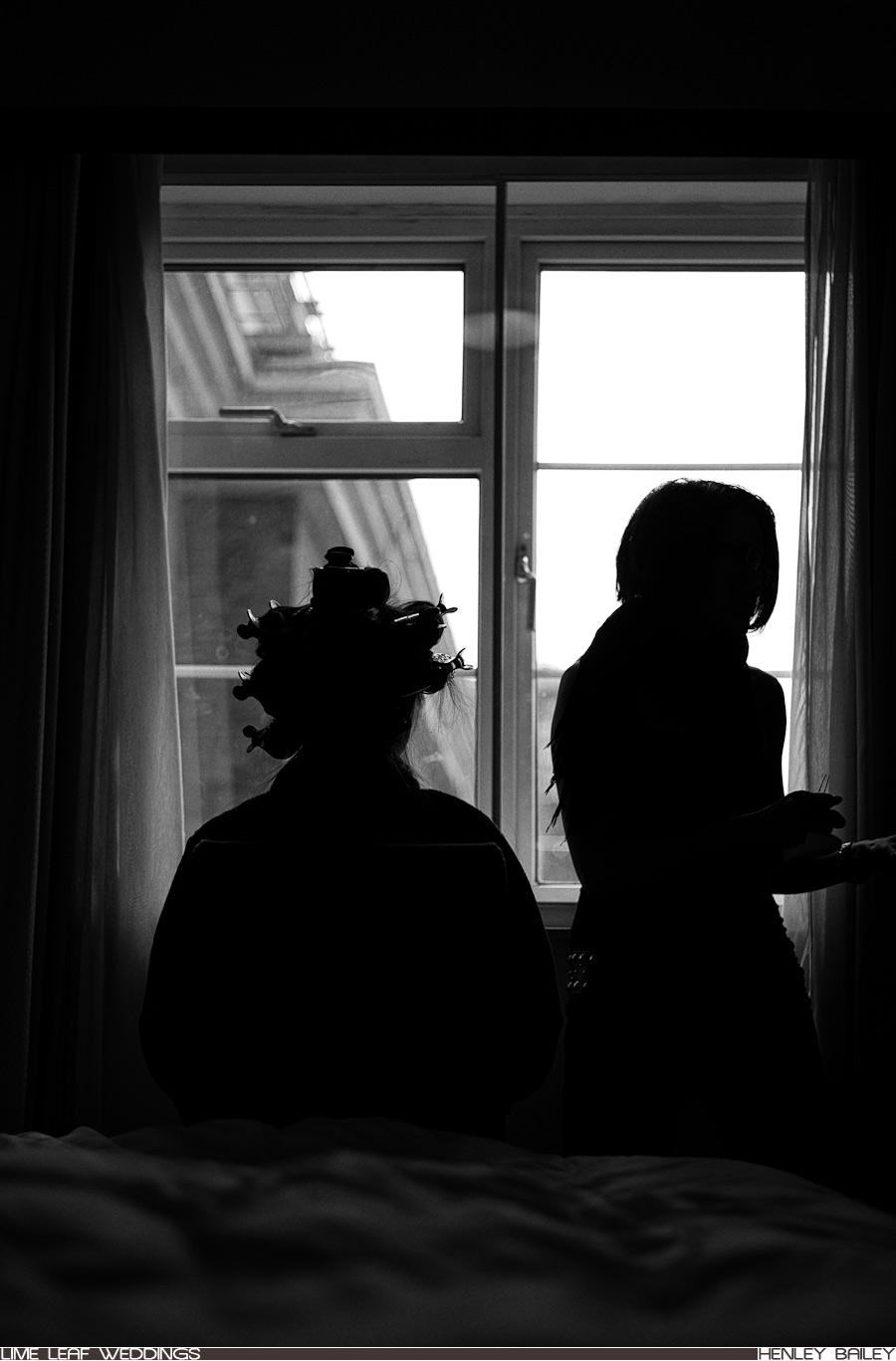 Silhouette of Jane by window