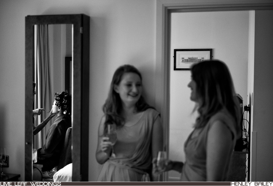 Reflection of Jane as bridesmaids chat