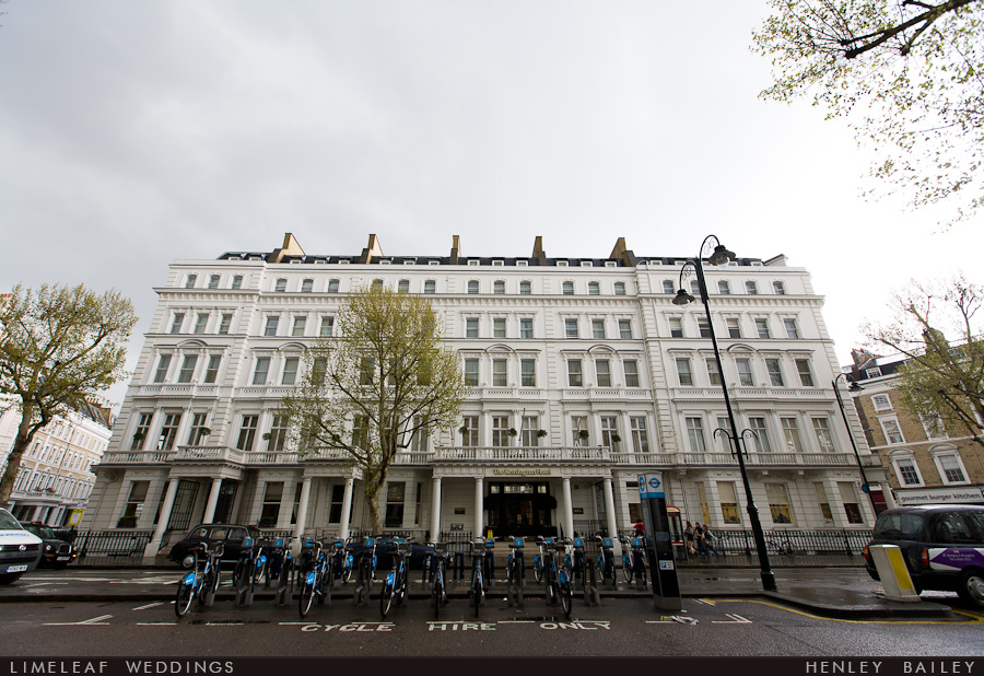 The Kensington Hotel in London with a row of Boris bikes outside