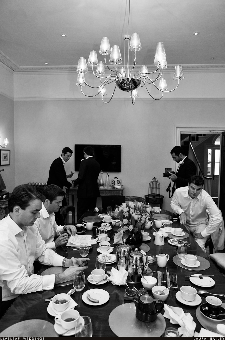 Ushers and groomsmen get ready for a wedding and have breakfast at Southernhay House in Exeter